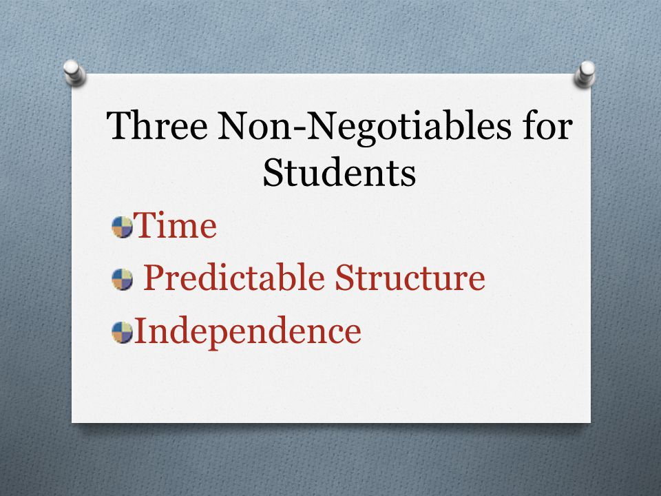 Three Non-Negotiables for Students Time Predictable Structure Independence