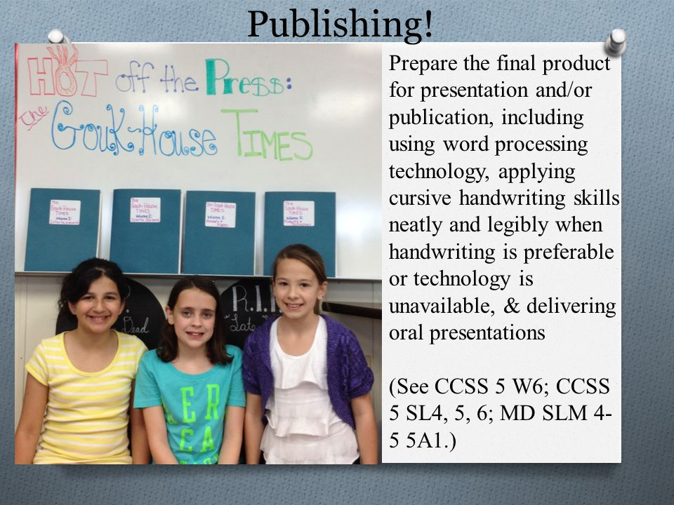 Publishing! Prepare the final product for presentation and/or publication, including using word processing technology, applying cursive handwriting sk