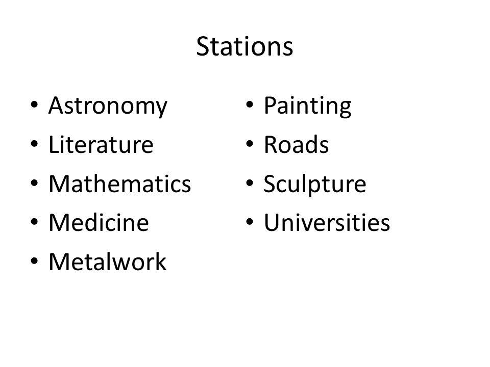 Stations Astronomy Literature Mathematics Medicine Metalwork Painting Roads Sculpture Universities