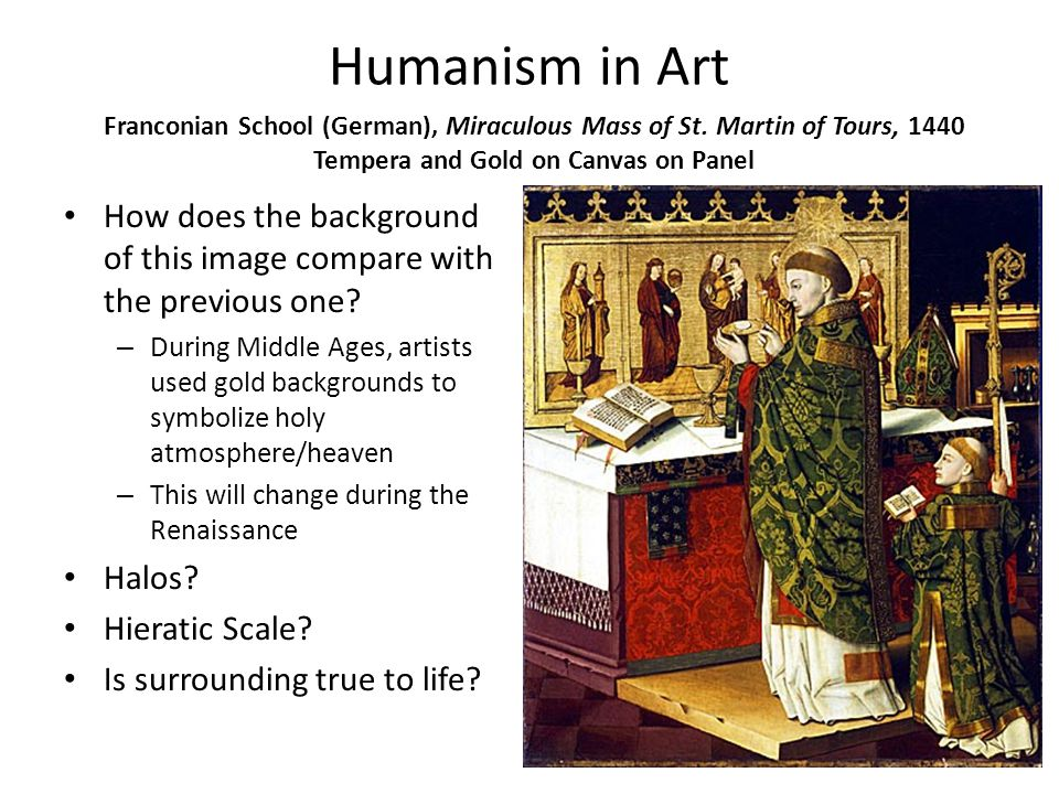 Humanism in Art How does the background of this image compare with the previous one.