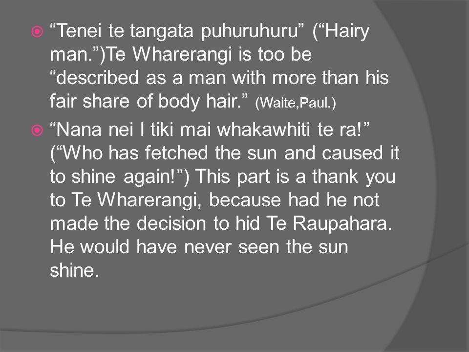  Tenei te tangata puhuruhuru ( Hairy man. )Te Wharerangi is too be described as a man with more than his fair share of body hair. (Waite,Paul.)  Nana nei I tiki mai whakawhiti te ra! ( Who has fetched the sun and caused it to shine again! ) This part is a thank you to Te Wharerangi, because had he not made the decision to hid Te Raupahara.