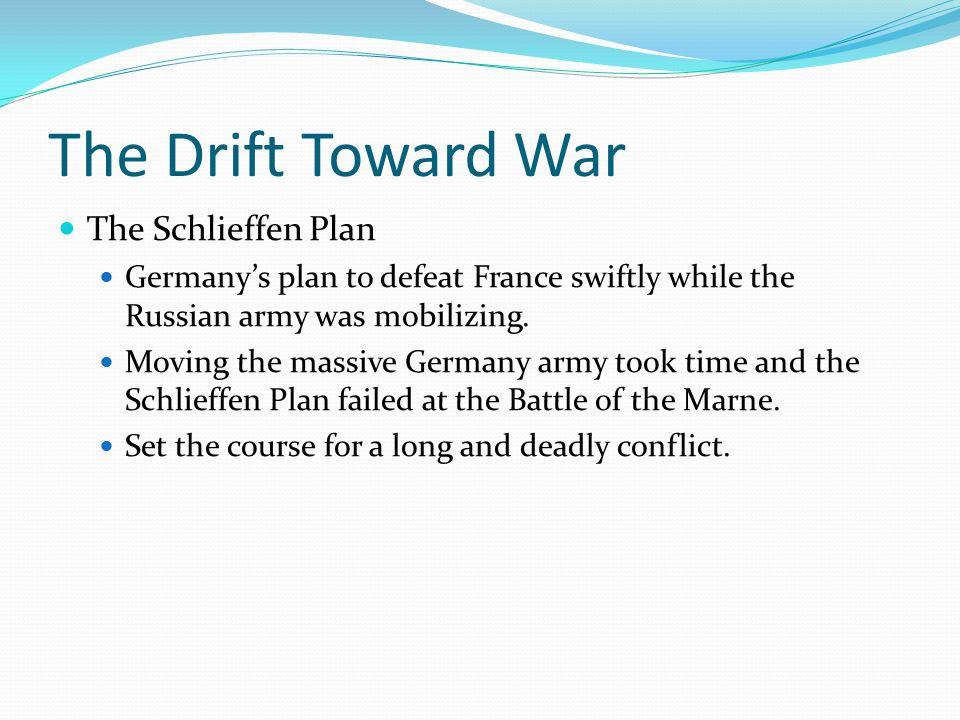 Global War After the domino effect of the alliance systems pulled most European countries into the war, a total war with devastating impact ensued.