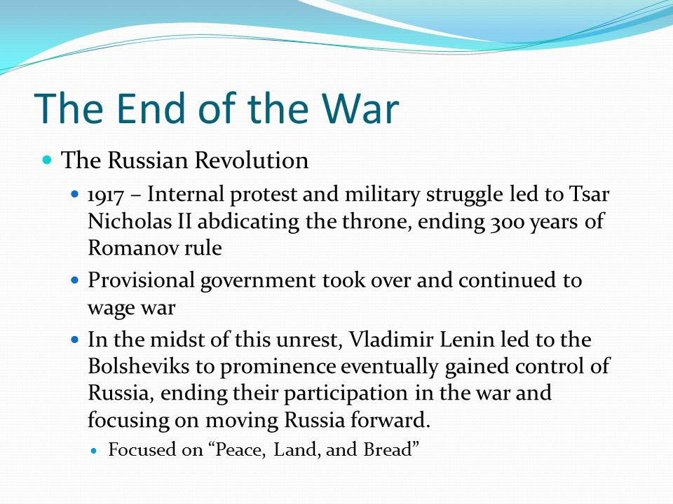The End of war U.S.
