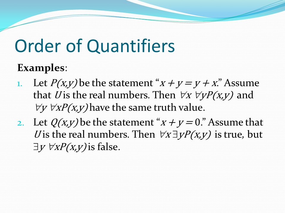 "Order of Quantifiers Examples: 1. Let P(x,y) be the statement "" x + y = y + x."" Assume that U is the real numbers. Then  x  yP(x,y) and  y  xP(x,y"