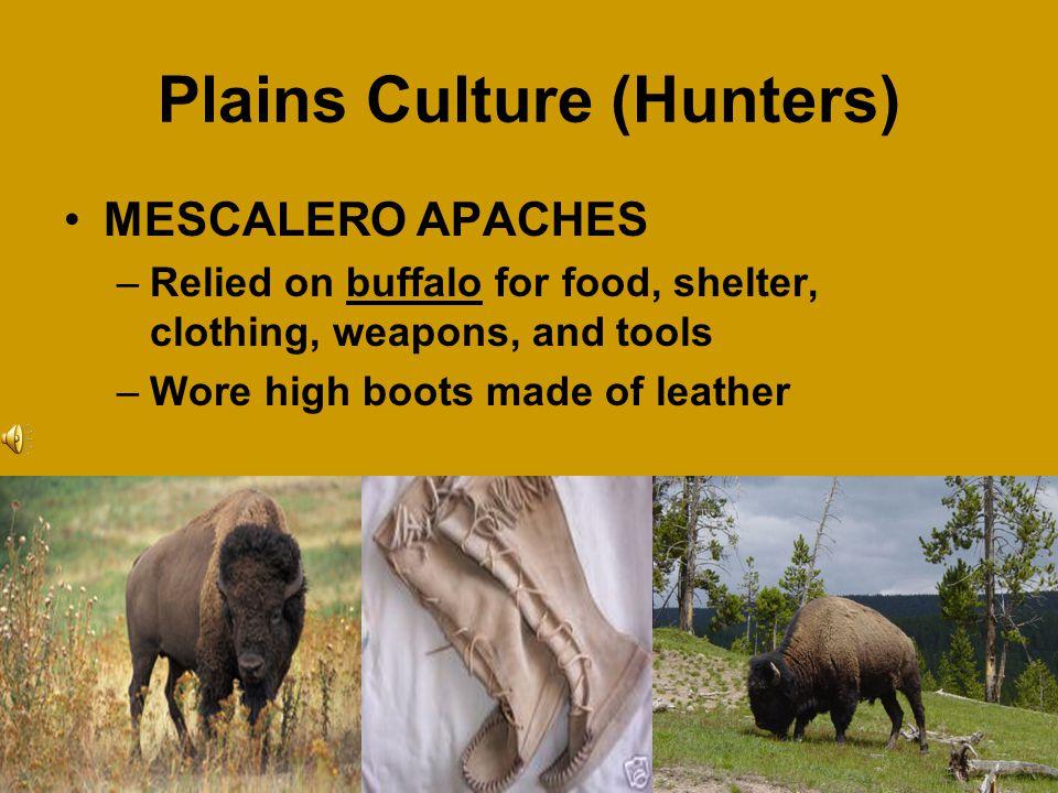 Plains Culture (Hunters) Lipan Apaches Mescalero Apaches Comanches Kiowas