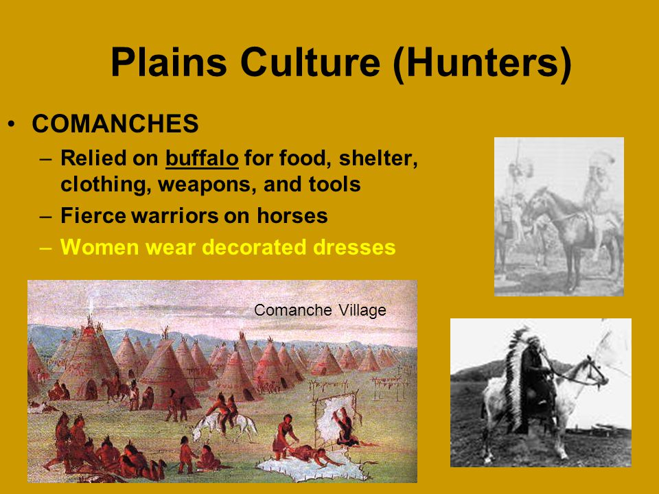 Plains Culture (Hunters) LIPAN APACHES –Relied on buffalo for food, shelter, clothing, weapons, and tools –Farmed beans, corn, squash, pumpkins