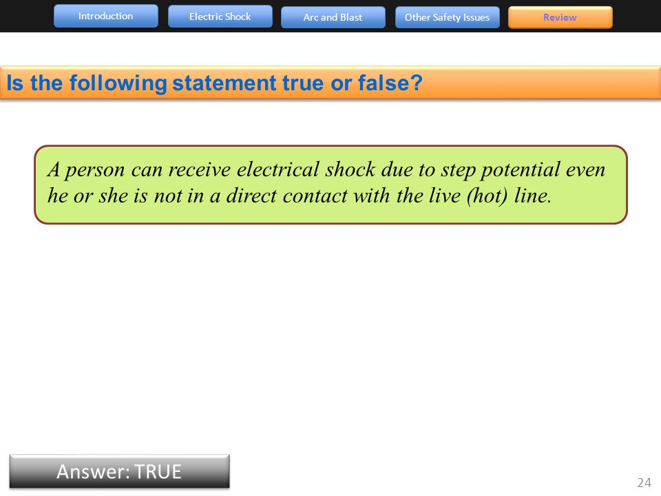 Introduction Arc and Blast Other Safety Issues 24 Review Electric Shock Answer: TRUE Is the following statement true or false.