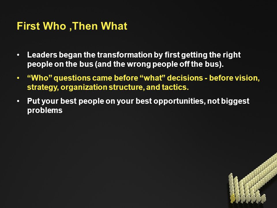 First Who,Then What Leaders began the transformation by first getting the right people on the bus (and the wrong people off the bus).