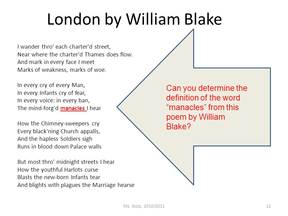 London by William Blake I wander thro each charter d street, Near where the charter d Thames does flow.