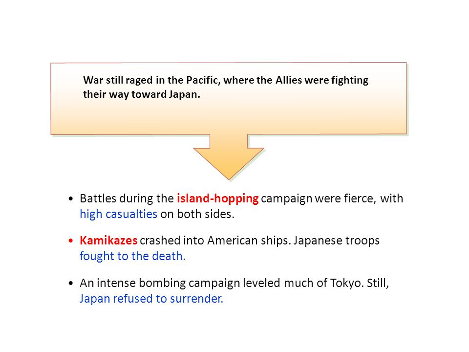 Battles during the island-hopping campaign were fierce, with high casualties on both sides. Kamikazes crashed into American ships. Japanese troops fou