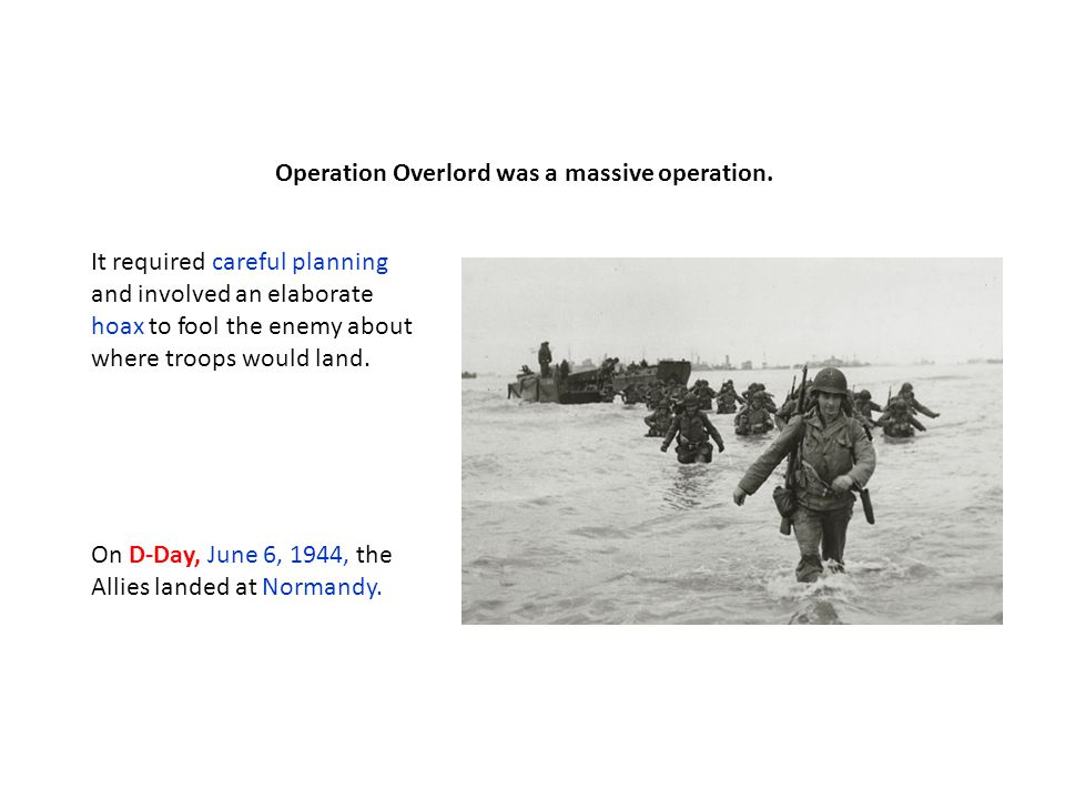 Within a month, more than one million troops landed in France.