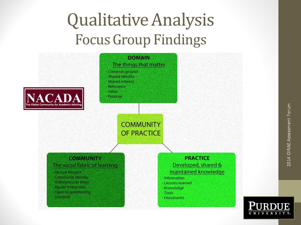 Qualitative Analysis Focus Group Findings 2014 OIRAE Assessment Forum