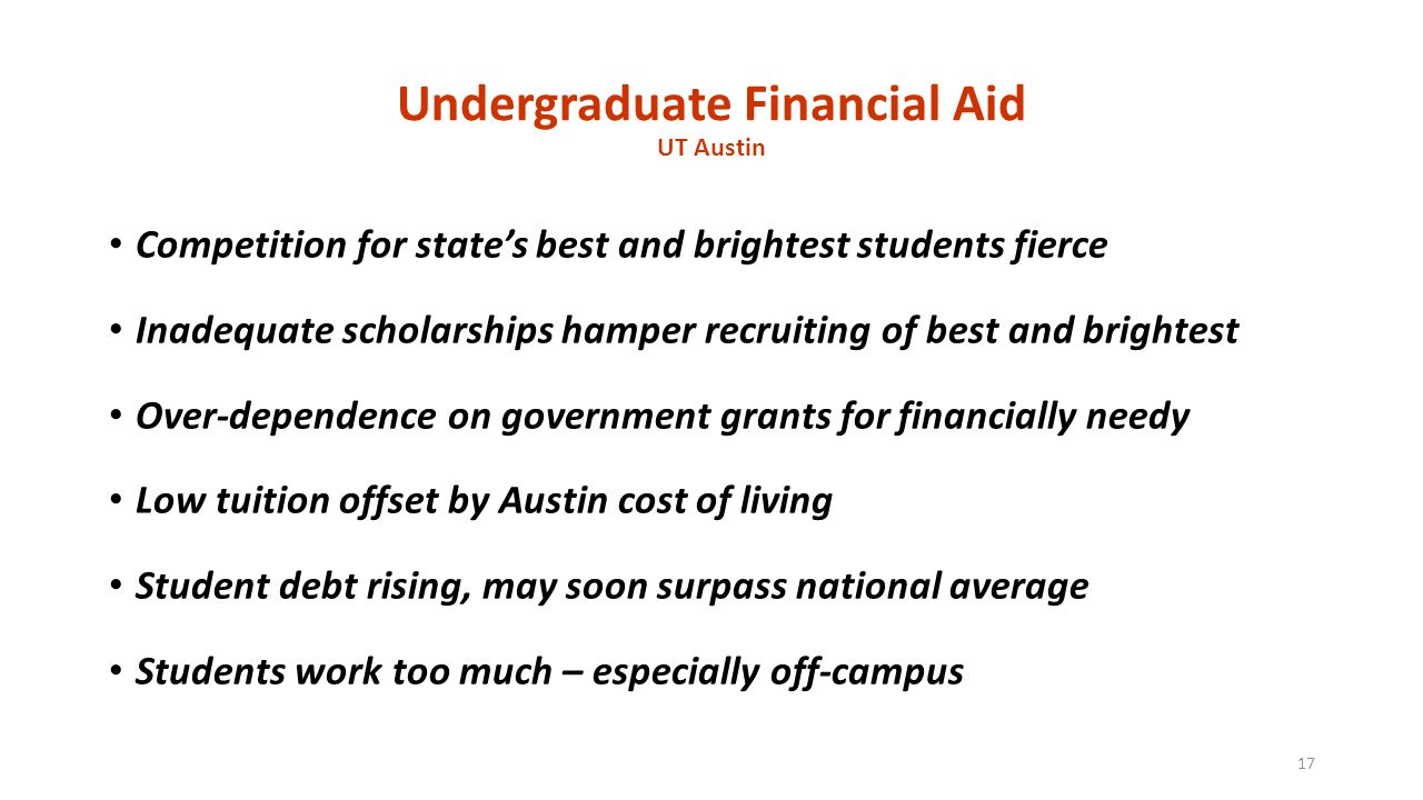 Undergraduate Financial Aid UT Austin Competition for state's best and brightest students fierce Inadequate scholarships hamper recruiting of best and brightest Over-dependence on government grants for financially needy Low tuition offset by Austin cost of living Student debt rising, may soon surpass national average Students work too much – especially off-campus 17
