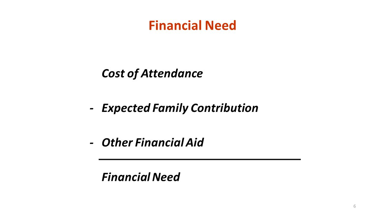 Financial Need Cost of Attendance -Expected Family Contribution -Other Financial Aid Financial Need 6