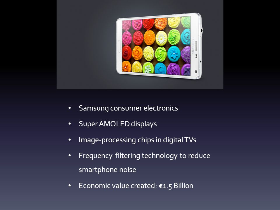 Samsung consumer electronics Super AMOLED displays Image-processing chips in digital TVs Frequency-filtering technology to reduce smartphone noise Eco