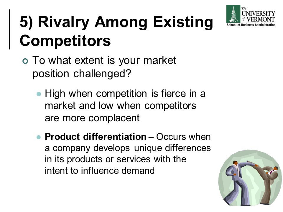 5) Rivalry Among Existing Competitors To what extent is your market position challenged? High when competition is fierce in a market and low when comp