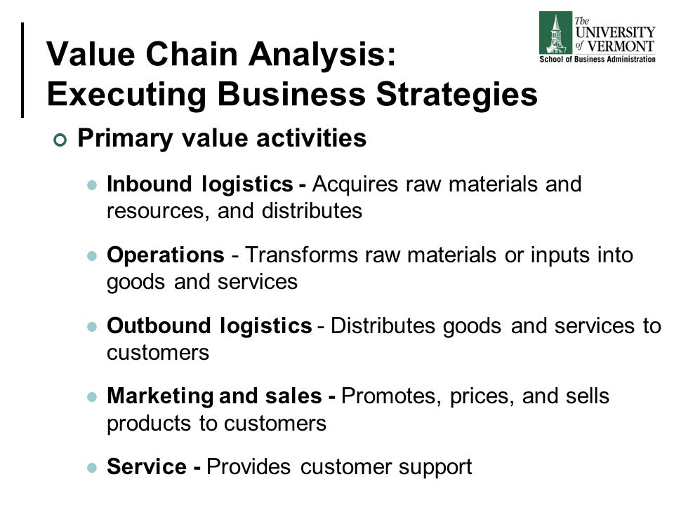 Value Chain Analysis: Executing Business Strategies Primary value activities Inbound logistics - Acquires raw materials and resources, and distributes