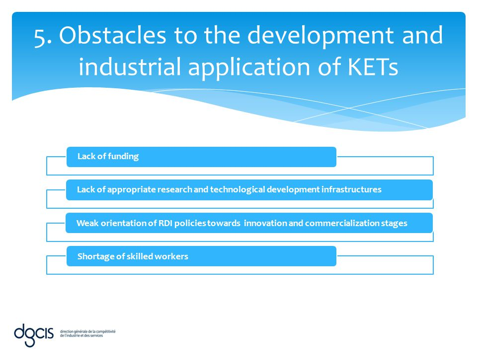 5. Obstacles to the development and industrial application of KETs Lack of fundingLack of appropriate research and technological development infrastru