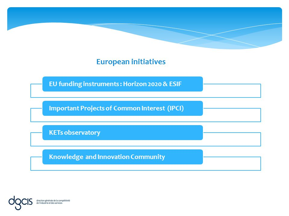 EU funding instruments : Horizon 2020 & ESIFImportant Projects of Common Interest (IPCI)KETs observatoryKnowledge and Innovation Community European in