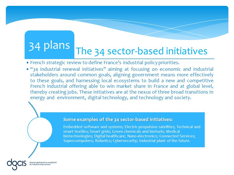 """The 34 sector-based initiatives 34 plans French strategic review to define France's industrial policy priorities. """"34 industrial renewal initiatives"""""""