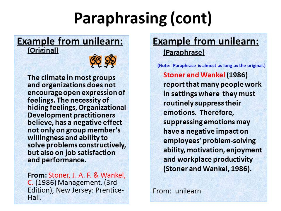 Paraphrasing (cont) Example from unilearn: (Original) The climate in most groups and organizations does not encourage open expression of feelings.