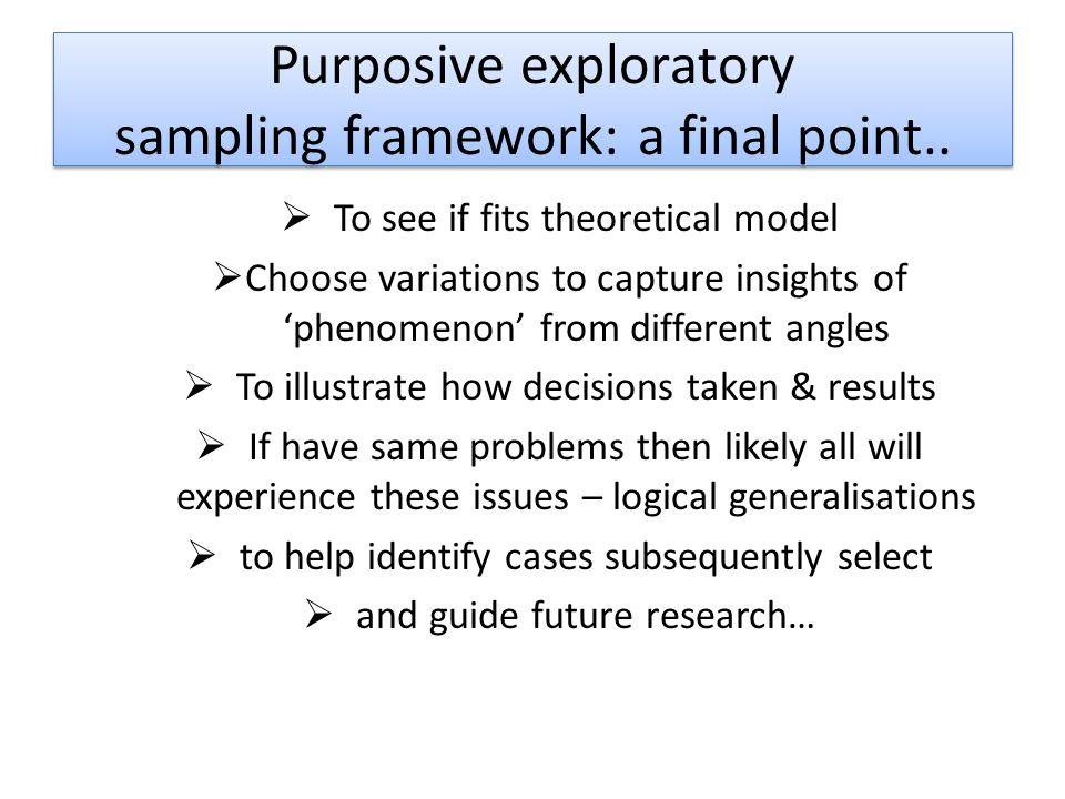 Purposive exploratory sampling framework: a final point..