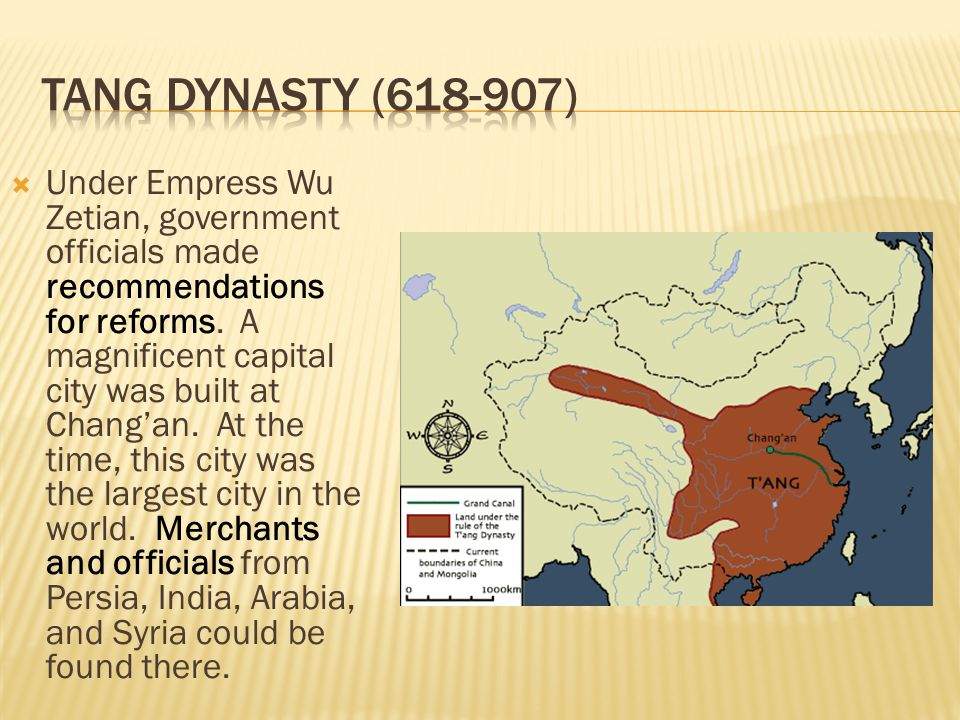  Under Empress Wu Zetian, government officials made recommendations for reforms. A magnificent capital city was built at Chang'an. At the time, this