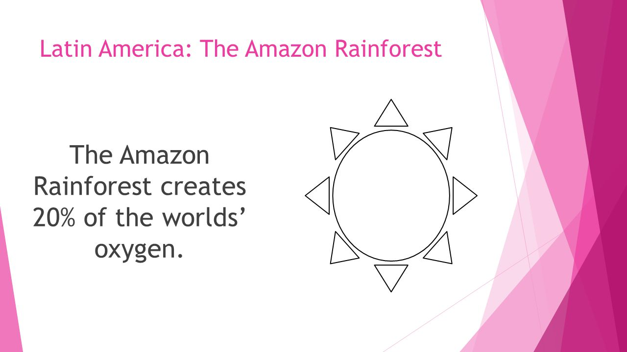 Latin America: The Amazon Rainforest The Amazon Rainforest creates 20% of the worlds' oxygen.