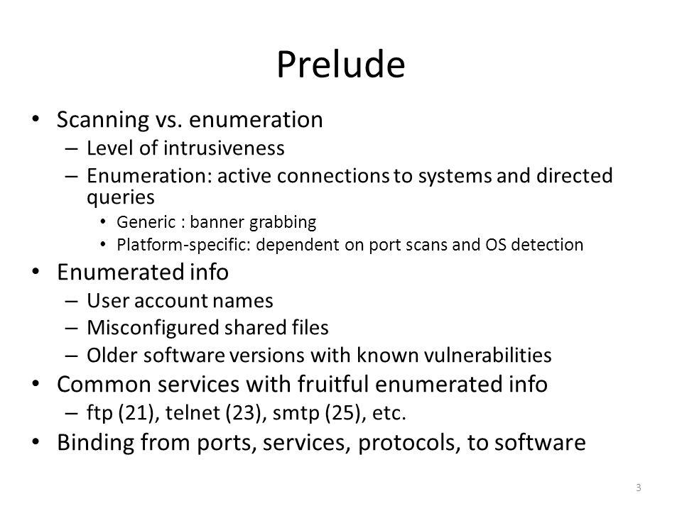 Prelude Scanning vs.