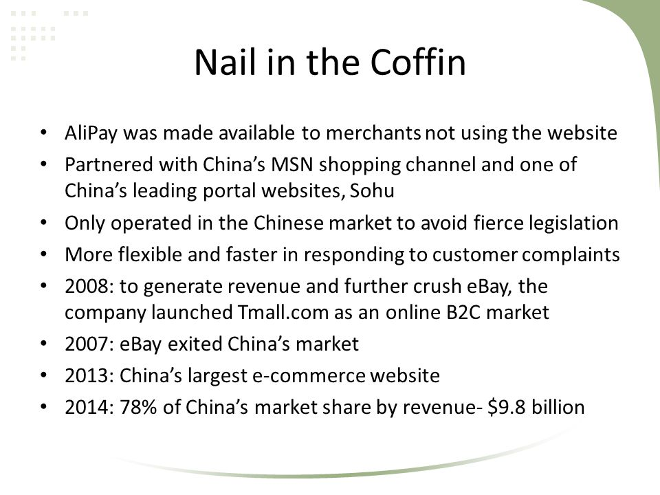 Nail in the Coffin AliPay was made available to merchants not using the website Partnered with China's MSN shopping channel and one of China's leading