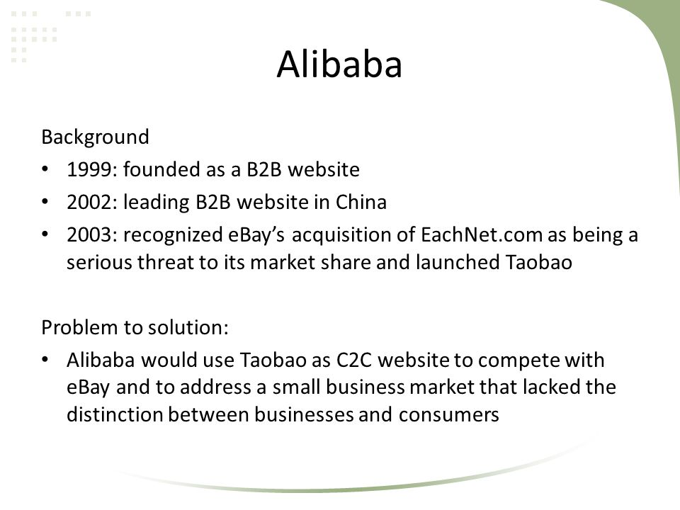 Alibaba Background 1999: founded as a B2B website 2002: leading B2B website in China 2003: recognized eBay's acquisition of EachNet.com as being a ser