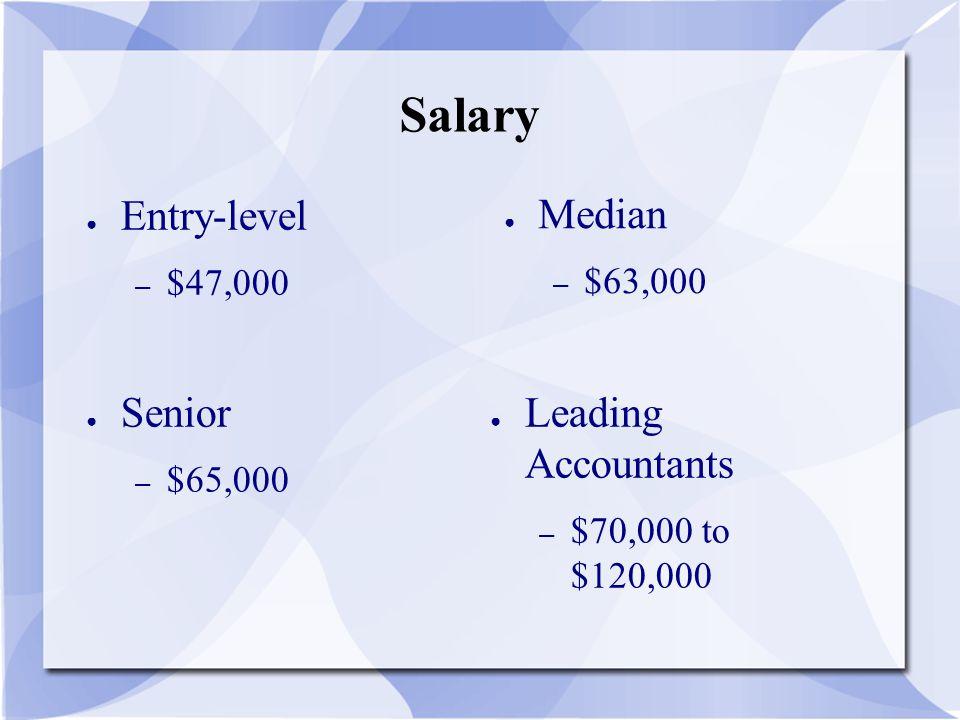 Salary ● Entry-level – $47,000 ● Median – $63,000 ● Leading Accountants – $70,000 to $120,000 ● Senior – $65,000