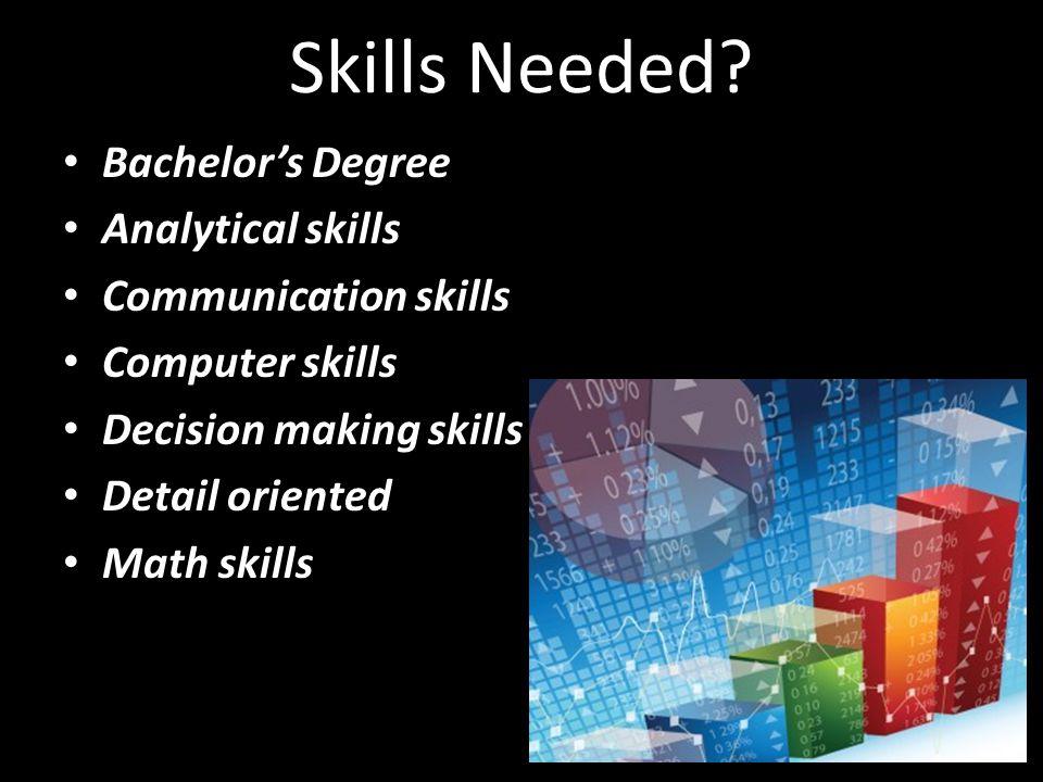 Skills Needed.