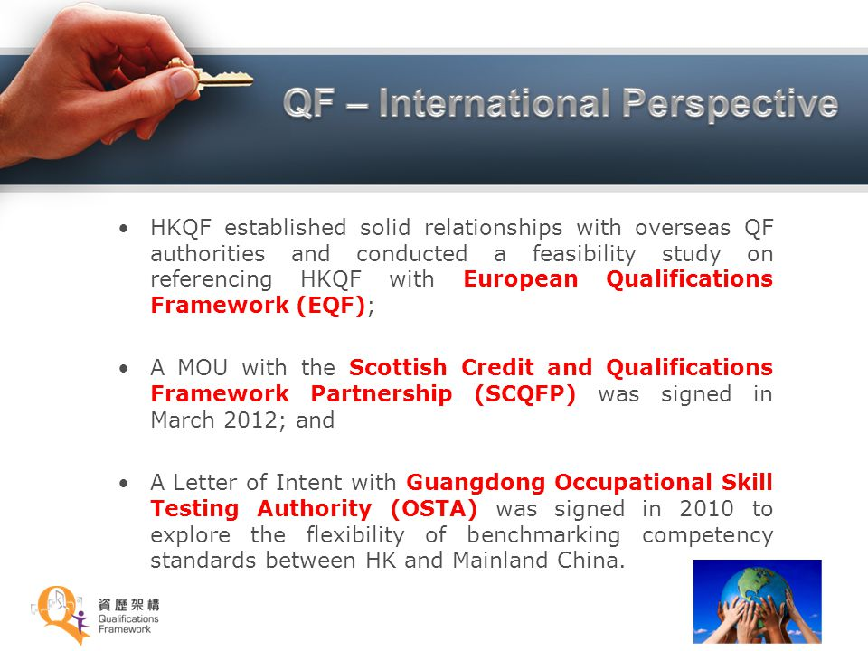 HKQF established solid relationships with overseas QF authorities and conducted a feasibility study on referencing HKQF with European Qualifications F