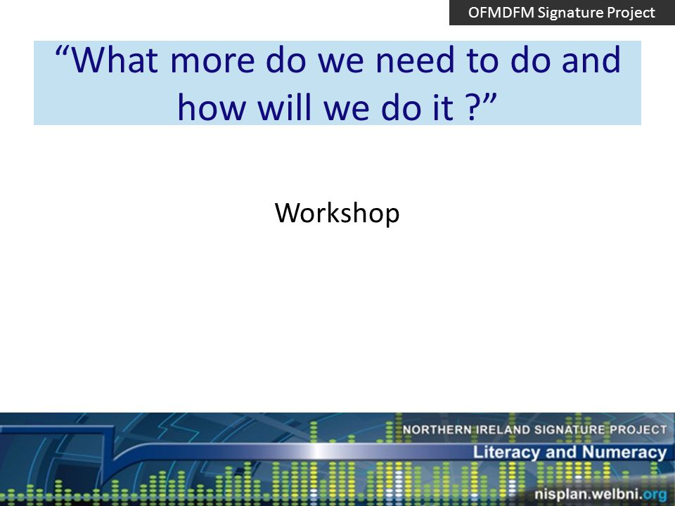 What more do we need to do and how will we do it Workshop OFMDFM Signature Project