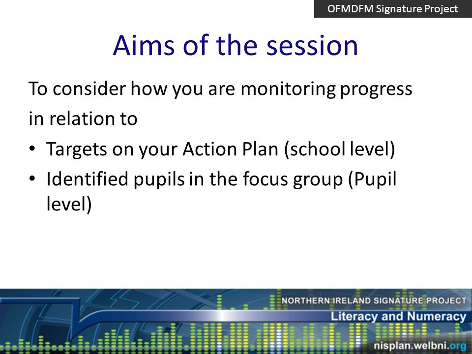 Aims of the session To consider how you are monitoring progress in relation to Targets on your Action Plan (school level) Identified pupils in the focus group (Pupil level) OFMDFM Signature Project