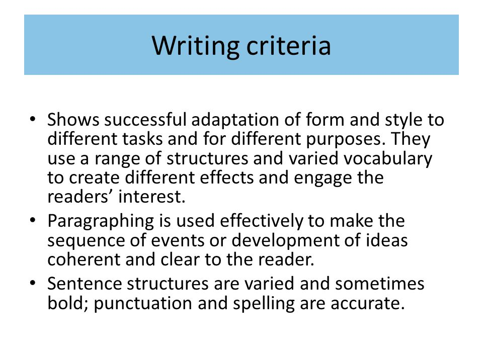 Writing criteria Shows successful adaptation of form and style to different tasks and for different purposes.
