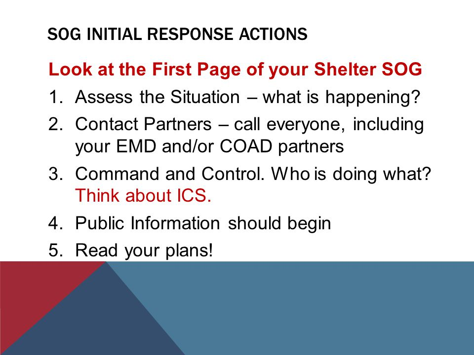 SOG INITIAL RESPONSE ACTIONS Look at the First Page of your Shelter SOG 1.Assess the Situation – what is happening.
