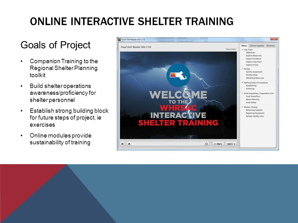 ONLINE INTERACTIVE SHELTER TRAINING Goals of Project Companion Training to the Regional Shelter Planning toolkit Build shelter operations awareness/proficiency for shelter personnel Establish strong building block for future steps of project, ie exercises Online modules provide sustainability of training