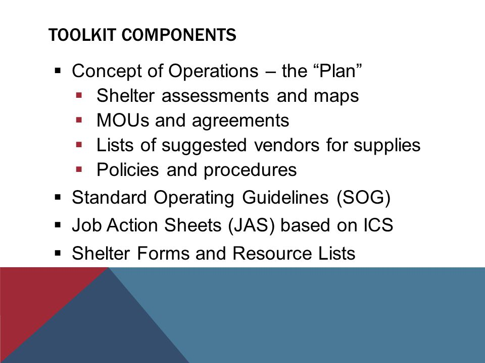 TOOLKIT COMPONENTS  Concept of Operations – the Plan  Shelter assessments and maps  MOUs and agreements  Lists of suggested vendors for supplies  Policies and procedures  Standard Operating Guidelines (SOG)  Job Action Sheets (JAS) based on ICS  Shelter Forms and Resource Lists