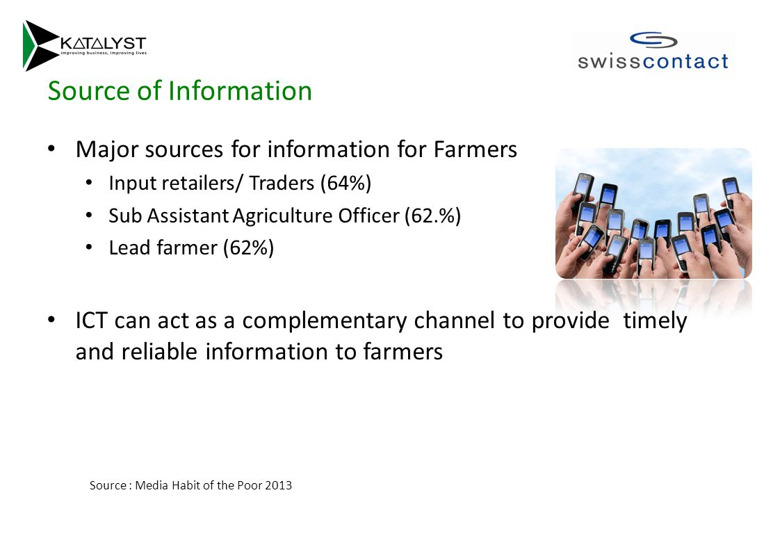 Source of Information Major sources for information for Farmers Input retailers/ Traders (64%) Sub Assistant Agriculture Officer (62.%) Lead farmer (62%) ICT can act as a complementary channel to provide timely and reliable information to farmers Source : Media Habit of the Poor 2013