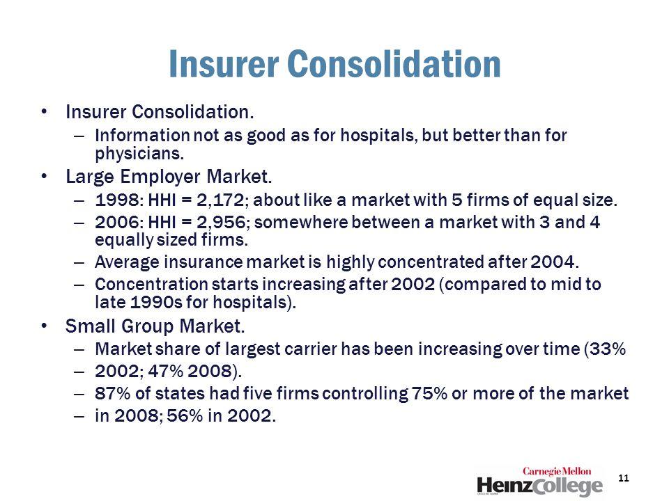 Insurer Consolidation Insurer Consolidation.