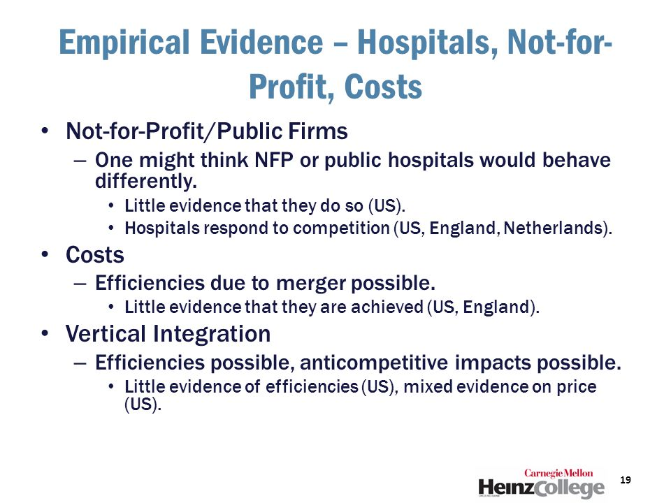 Empirical Evidence – Hospitals, Not-for- Profit, Costs Not-for-Profit/Public Firms – One might think NFP or public hospitals would behave differently.