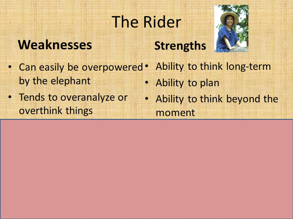 The Rider Weaknesses Can easily be overpowered by the elephant Tends to overanalyze or overthink things Strengths Fierce emotion/dedication Energy to get things done The Elephant WeaknessesStrengths Lazy and skittish Looking for a quick payoff Ability to think long-term Ability to plan Ability to think beyond the moment