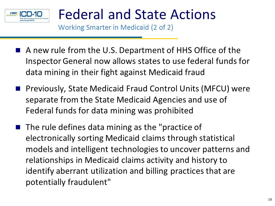 Federal and State Actions Working Smarter in Medicaid (2 of 2) A new rule from the U.S.