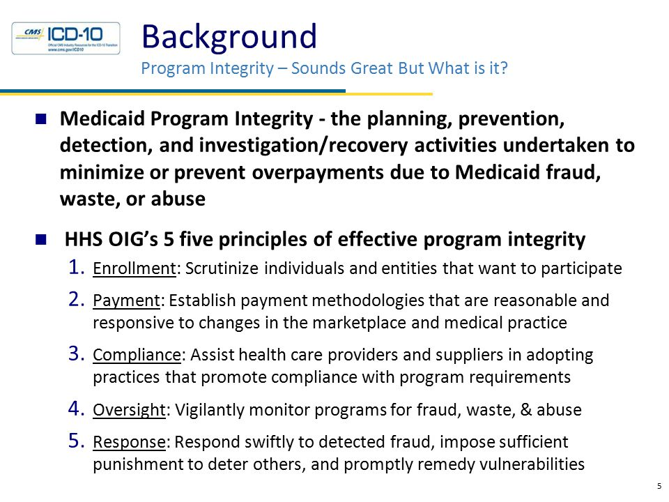 Background Program Integrity – Sounds Great But What is it? Medicaid Program Integrity - the planning, prevention, detection, and investigation/recove