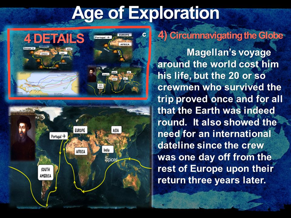 Age of Exploration c Magellan's voyage around the world cost him his life, but the 20 or so crewmen who survived the trip proved once and for all that the Earth was indeed round.