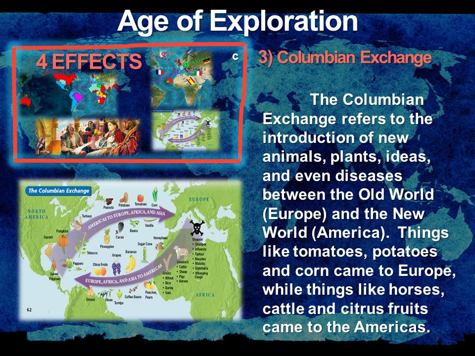 Age of Exploration c The Columbian Exchange refers to the introduction of new animals, plants, ideas, and even diseases between the Old World (Europe) and the New World (America).