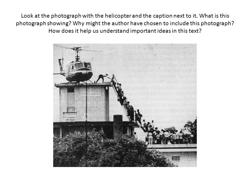 Look at the photograph with the helicopter and the caption next to it.