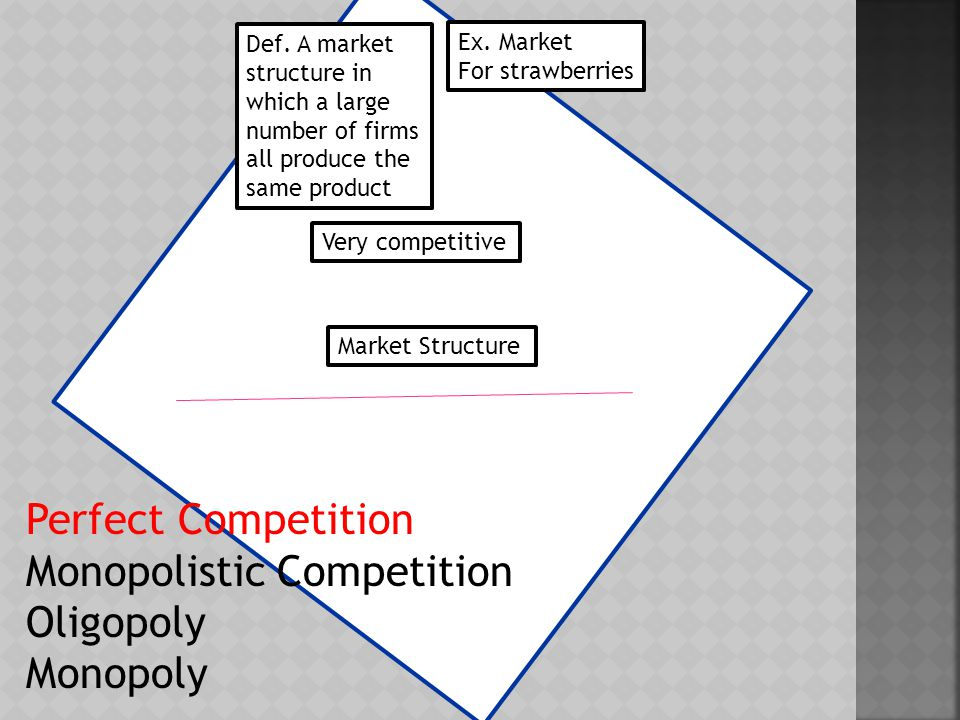 Def.A market dominated by a single seller Ex.
